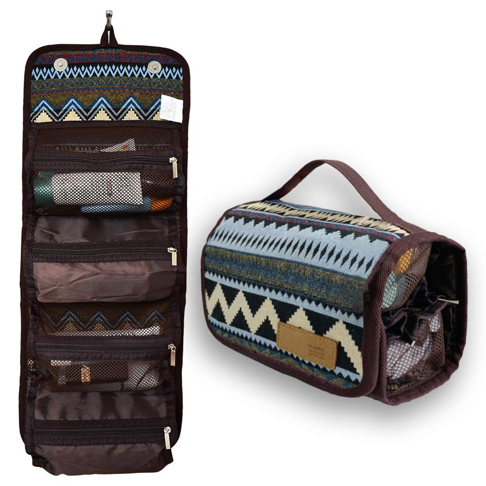 Hanging Roll-Up Travel Toiletry Bag Kit Organizer Cosmetic Makeup Case Wash Bags for Women Men-Compact Portable with Hanger 4 Zippered Compartments, Ideal for Camping Long Travel