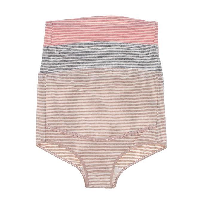 Magideal Bragas de Mujeres Embarazadas Ropa Interior Diseño de Cordón Elástico Ajustable Cómoda - Raya,