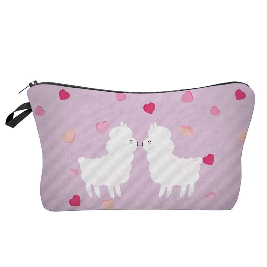 Pausseo Women Letters Alpaca Printing Makeup Cosmetic Brushes Bag Toiletry Storage Travel Handbag Student Pencil Zipper Clutch Case Stationery Box Pouch School Supplies Coins Change Pen Purse Pack (B)
