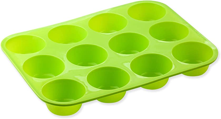 12 Holes Baby Pink Silicone Cylinder Round Circle Cake Muffin Cupcake Mould