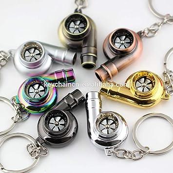 Creative Spinning Turbo Llavero Moda Auto parte modelo coche ventilador favorito de la turbina del turbocompresor llavero clave cadena anillo llavero ...