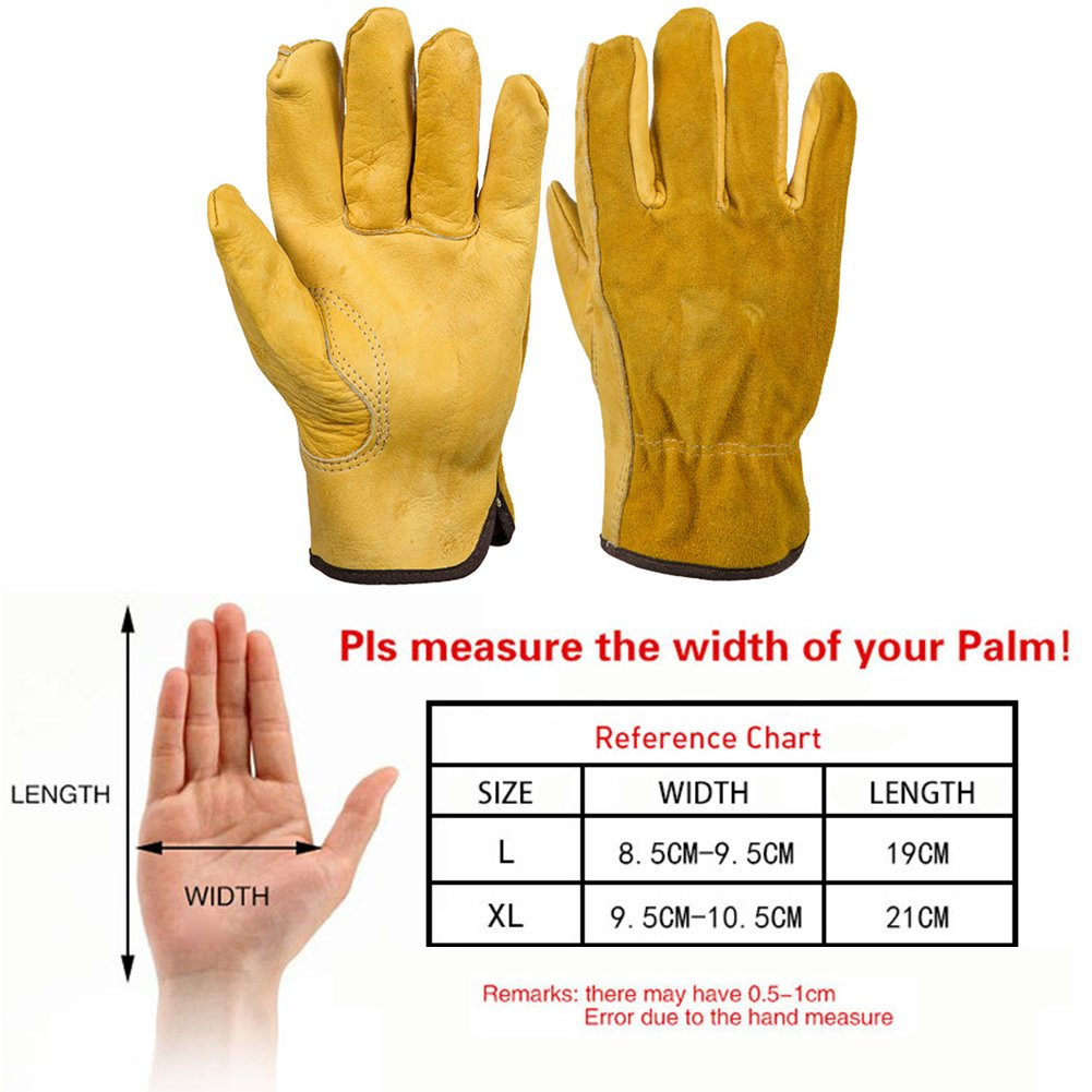 Leather Work Gloves Fishing Waterproof Slim-Fit Reinforced Rigger Gloves for Gardening Restoration Work Construction L,Yellow 1 Pair Thorn Proof Gardening Gloves Garden Labor Gloves