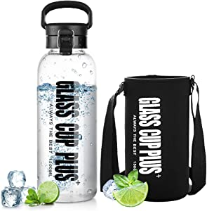 oneisall Glass Water Botte with Sleeve & Infuser, Reusable Sport Water Bottle with Flip Top Lid & Shoulder Strap for Gym Hiking Camping