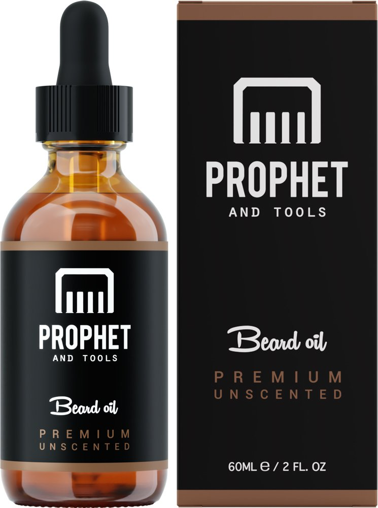 Best Selling Premium Beard Oil Now in 60ML - for Fuller Beards, Mustache & Goatee Growth Oil - Leave-in Conditioner and Softener - 100% Natural & Organic Mens Facial Hair Product - Prophet and Tools