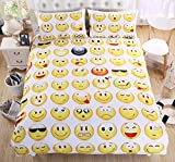 Emoji King Size Duvet Sleepwish Emoji Bedding 3 Piece Yellow and White Bedspread Young Adults Cute Bedding Sets for King