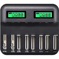 Gojiny Cargador de batería USB Universal para batería Recargable de tamaño AA AAA C D