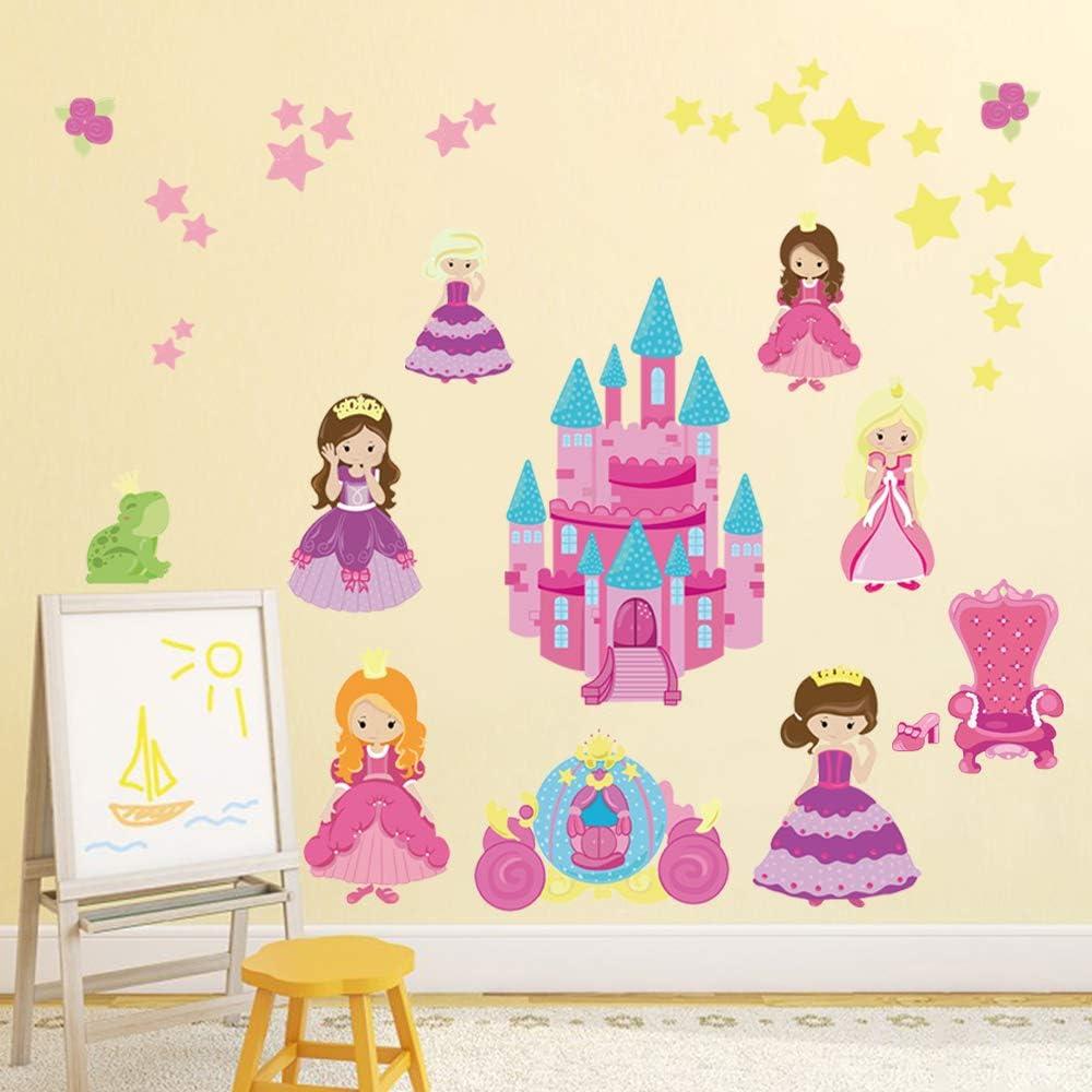 decalmile Princesa Pegatinas de Pared Carro Hadas Castillo de Princesa Adhesivos Pared Beb/é Ni/ña Habitaci/ón Decoraci/ón de Pared