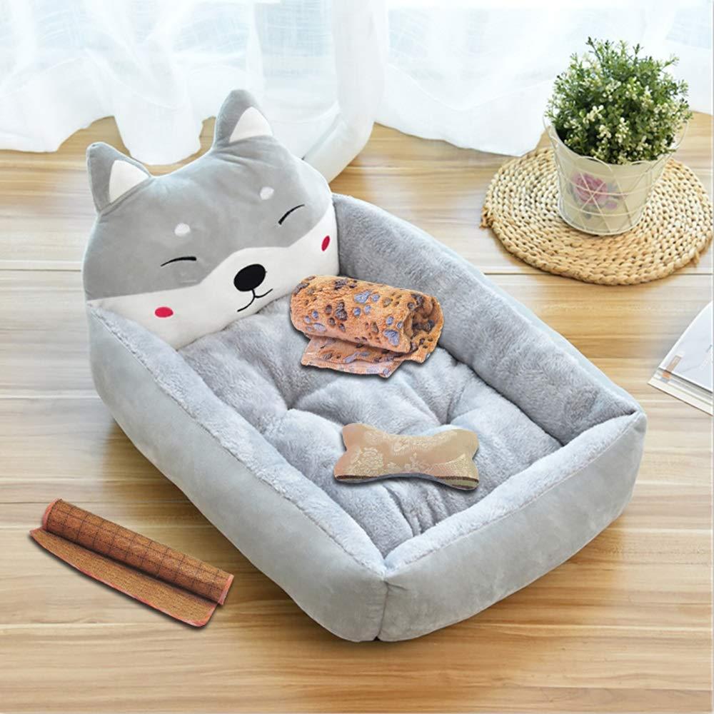 Pet Supplies Velvet Kennel Cartoon Pet Nest Four Seasons Winter Warm Pet Mat Cat Litter Gray Multi-Size Crate (Size : L)