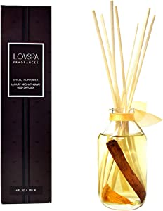 LOVSPA Spiced Pomander Cinnamon & Orange Scented Sticks Reed Diffuser with Mandarin Orange, Cloves and Cinnamon, Continuous Scent Air Freshener, Made in The USA