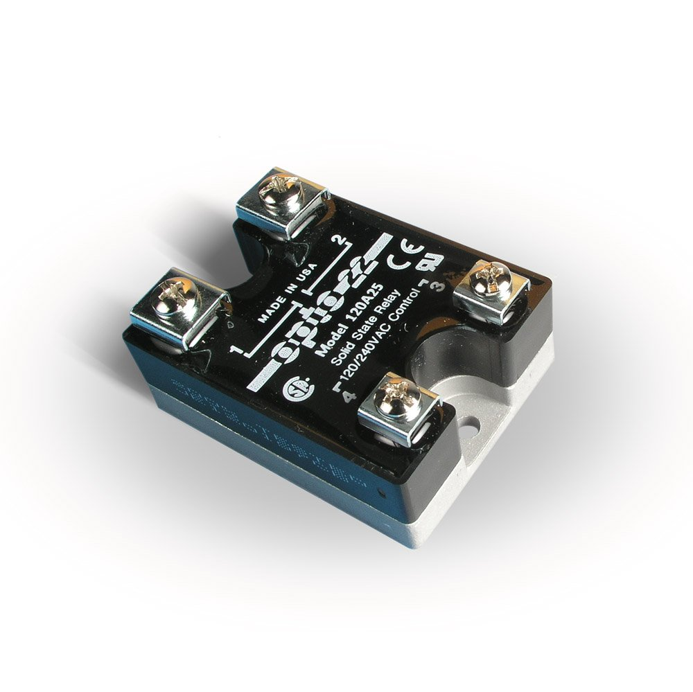 Opto 22 120A25 AC Control Solid State Relay, 120 VAC, 25 Amp, 4000 V Optical Isolation, 1/2 Cycle Maximum Turn-On/Off Time, 25 - 65 Hz Operating Frequency by Opto 22