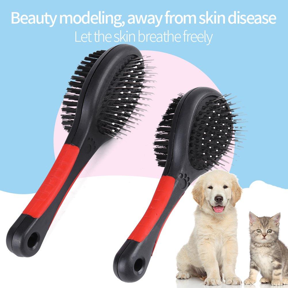 Smandy Peine para Mascotas M Moda Profesional de Doble Cara para Mascotas Cepillo para Mascotas Deshedding Cepillo para el Cabello Eliminaci/ón de eliminaci/ón de residuos Peine de Limpieza
