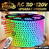 RGB LED Strip Light, IEKOV™ AC 110-120V Flexible/Waterproof/Multi Colors/Multi-Modes function/Dimmable SMD5050 LED Rope Light with Remote for Home/Office/Building Decoration (65.6ft/20m)