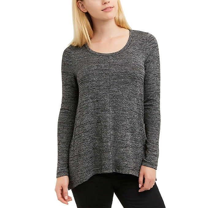 Jones New York Ladies Long Sleeve Knit Top Black Melange Small At