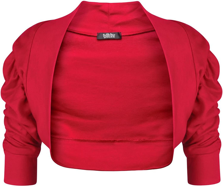 Aelstores New Girls Ruched Sleeve Cardigan 100/% Cotton Plain Bolero Shrug 2-13