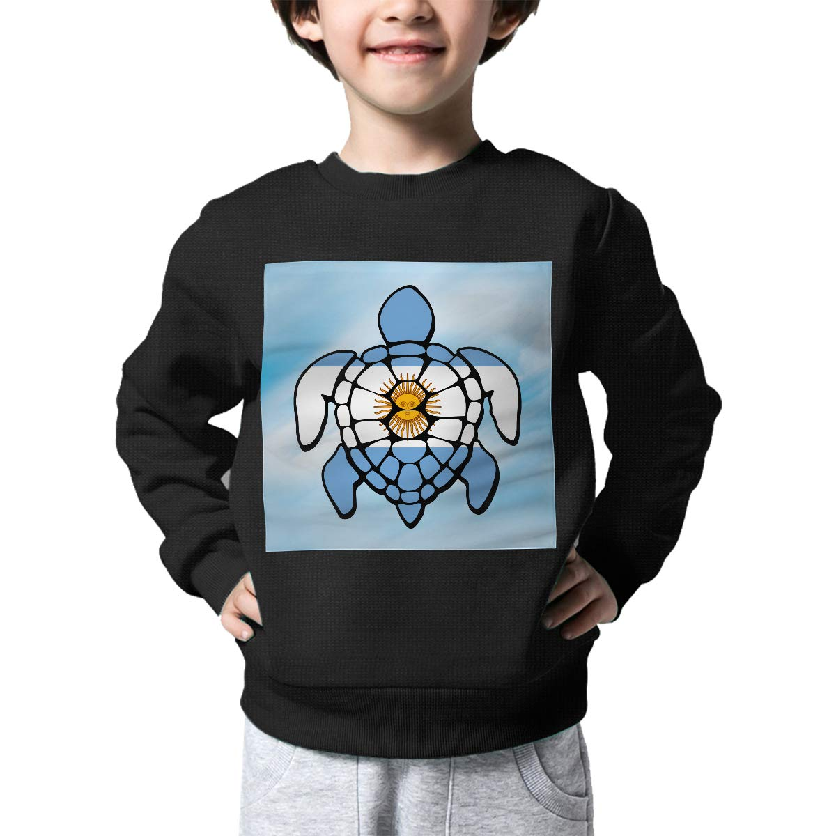Argentina Flag Turtle Print Baby Girls Kids Crew Neck Sweater Long Sleeve Warm Knitted Sweater Jumper