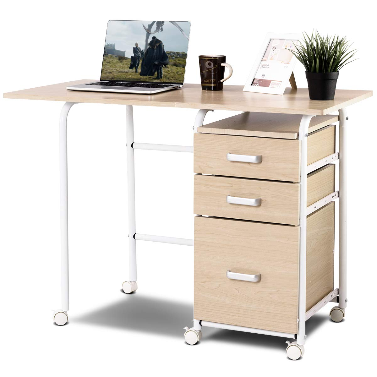Tangkula Foldable Computer Desk, Home Office Computer Table with 3 Ample Storage Drawers, Laptop Desk Writing Table, Portable Space Saving Compact Desk for Dome Apartment, Folding Table (Natural)