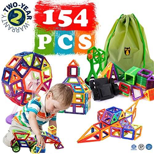 Magnetic Blocks Kids Magnetic Toys Set 154 Pcs Creativity Educational Children's DIY Magnetic Tiles Set Construction Building Blocks with Wheels Party Gift for Kids (Instruction Guide - Childrens Blocks Toys