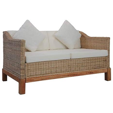 vidaXL Sofá de 2 plazas con Cojines, sofá de ratán, sofá de ...