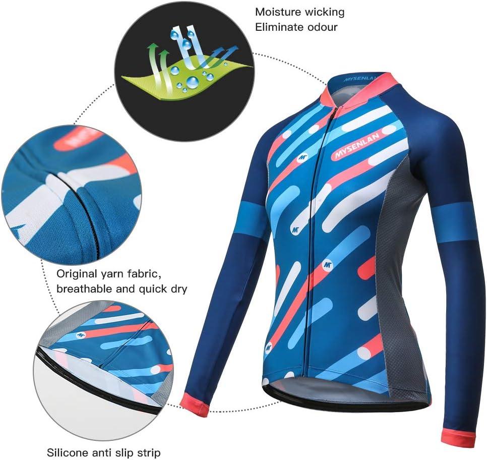 Mysenlan Abbigliamento Ciclismo Maglia da Donna Manica Lunga per Bici Asciugatura Rapida Traspirante Cycling Jersey Estivo