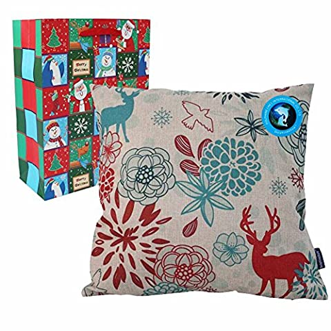 DolphineShow Square Pillow Cover for Merry Christmas Decorations Decor Deer Pattern Cotton Linen Sofa Throw Cases Cushion 18x18 Inches with Gift Bag