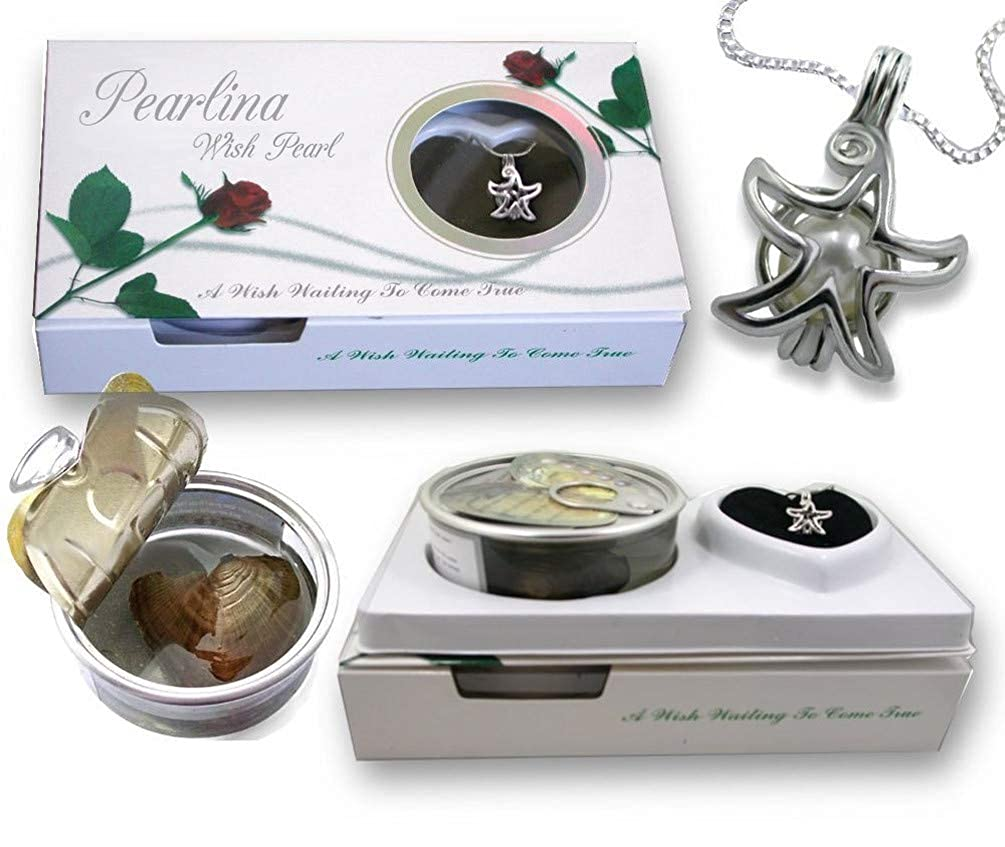 Pearlina Wish Upon a Star Cultured Pearl in Oyster Necklace Set Silver Plated Cage Pendant W//Stainless steel chain 18