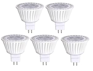 5 Pack Bioluz LED MR16 LED Bulb Dimmable 50W Halogen Replacement 7w 3000K 12v AC/DC UL Listed