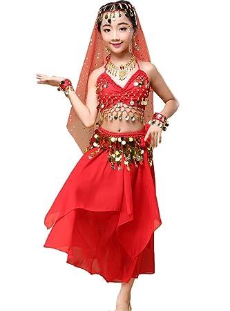 Astage Niña Danza del Vientre Disfraz Set Carnaval Lentejuelas Vestido De Chifón