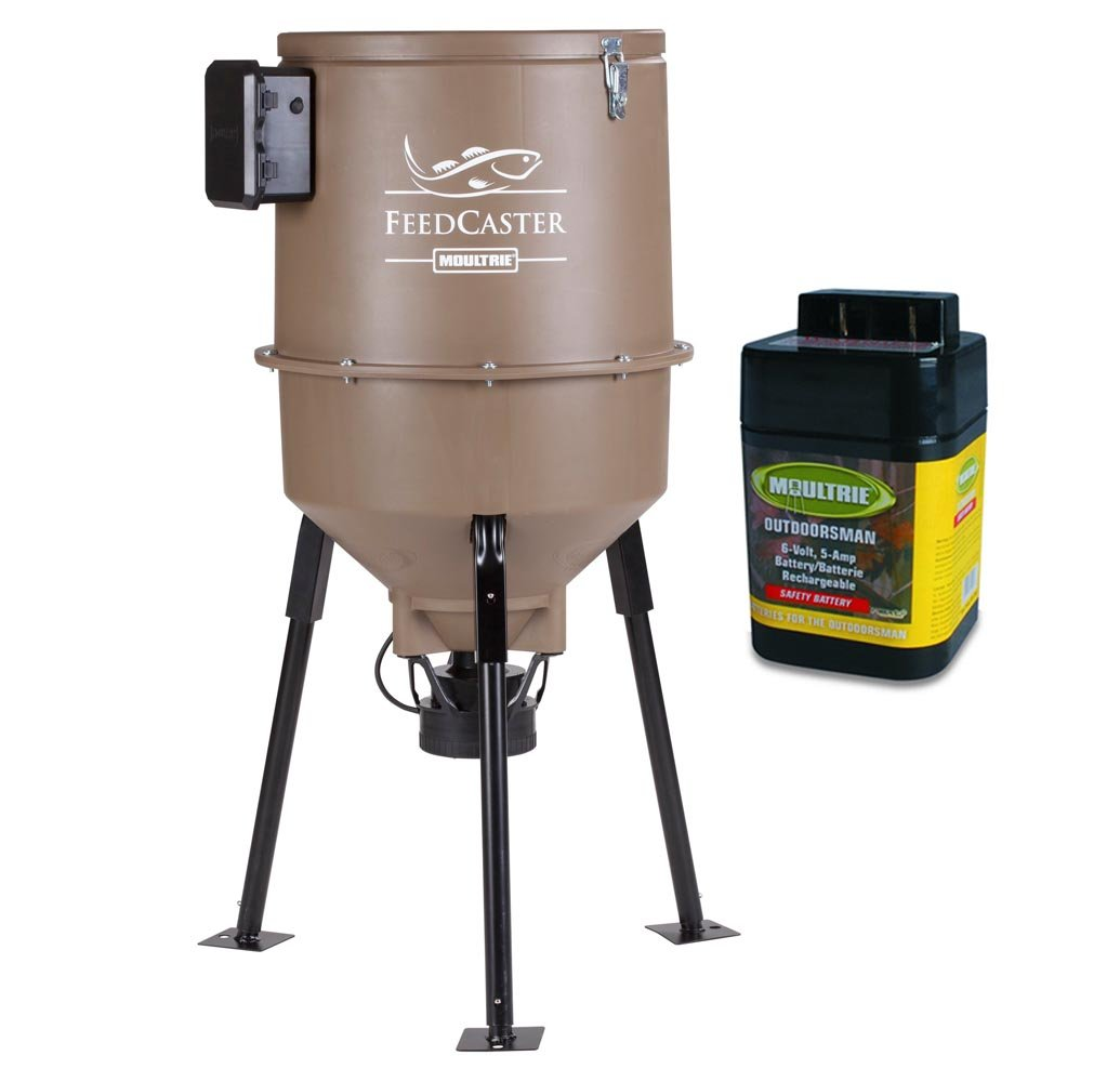 MOULTRIE 30 Gallon Feedcaster Pro Directional Tripod Fish Feeder + 6Volt Battery