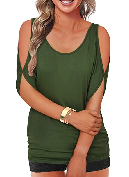9737679a3e3fd0 Army Green Summer T Shirt Women Short Sleeve Cold Shoulder Loose Fit  Pullover Casual Top