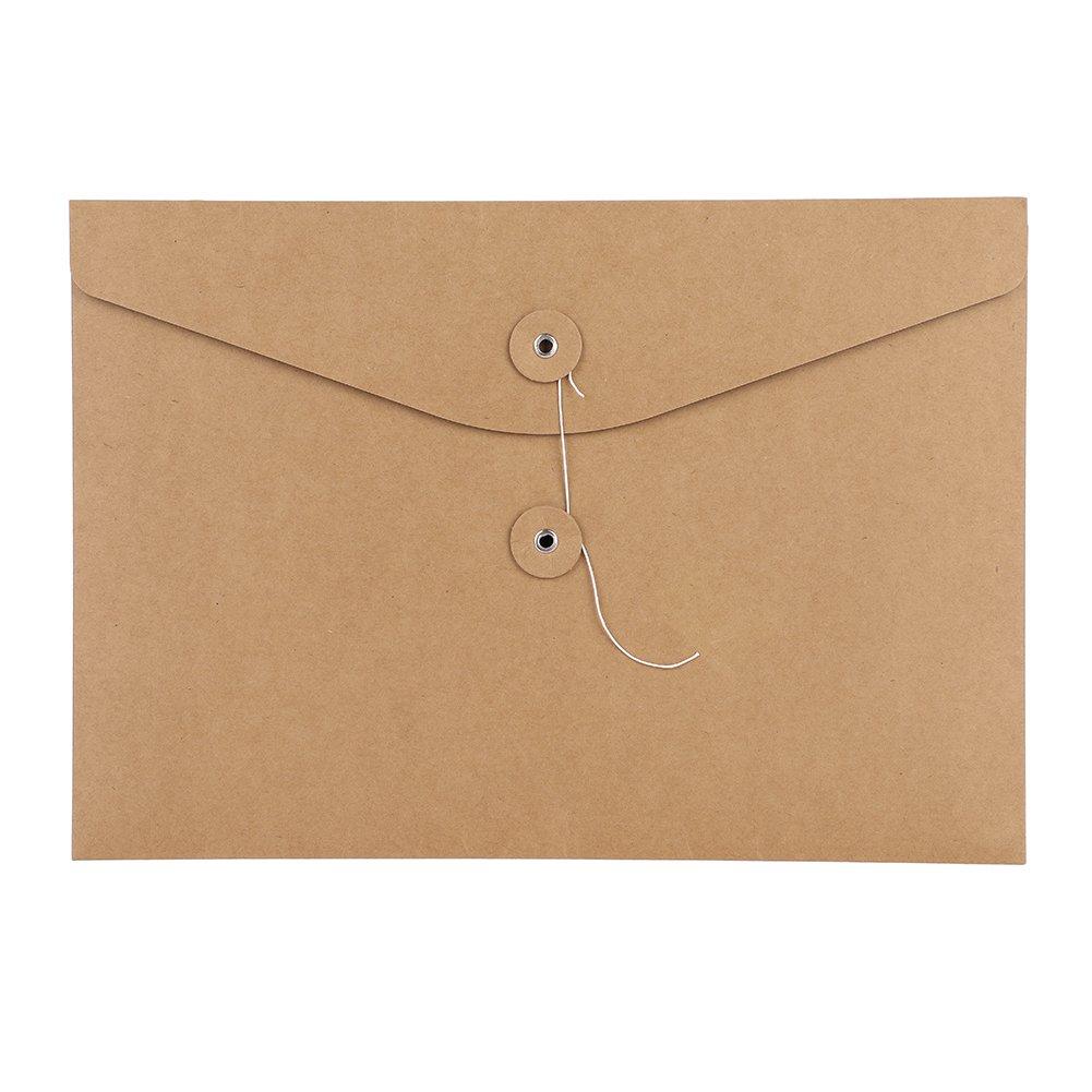 10PCS A4 cartelle busta in carta kraft formato A4 popper portadocumenti tasche file borse sacchetto di stoccaggio Paperwork organizer con corda chiusura a calamita per uffici scuola viaggio