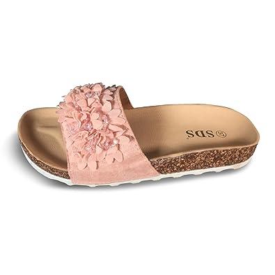 Schuhtraum Damen Sandalen Pantoletten Slipper Blumen Sandaletten Glitzer  Komfort PG70 (36, Rosa) e7e859cef8
