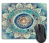Wknoon Abstract Blue Turquoise Mandala Mouse Pad Vintage Beige Floral Flowers Art Diamond Painting Mouse Pads