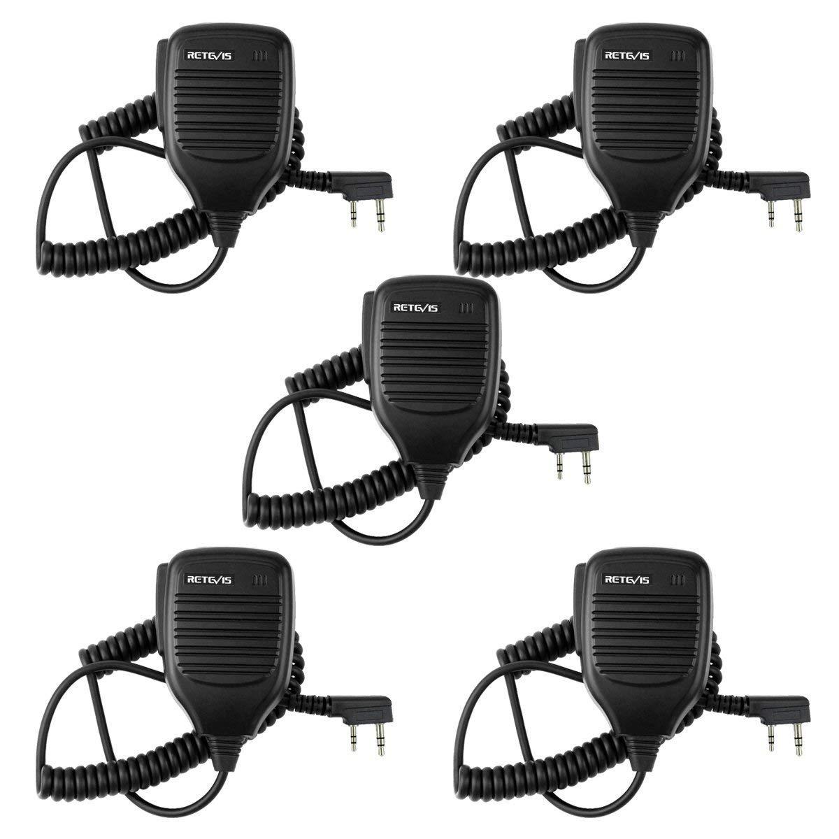 Retevis 2 Pin Handheld Remote Speaker Mic for Kenwood/Baofeng UV-5R/UV-5RA/888S Retevis RT27/H777/R888s/RT-5R/RT-6S Walkie Talkies (5 Pack) CAC9001A5