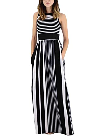 f80f937ac4 ROSKIKI Women Summer Casual Loose Striped Long Dress Sleeveless Tank Maxi  Dress with Pockects at Amazon Women's Clothing store: