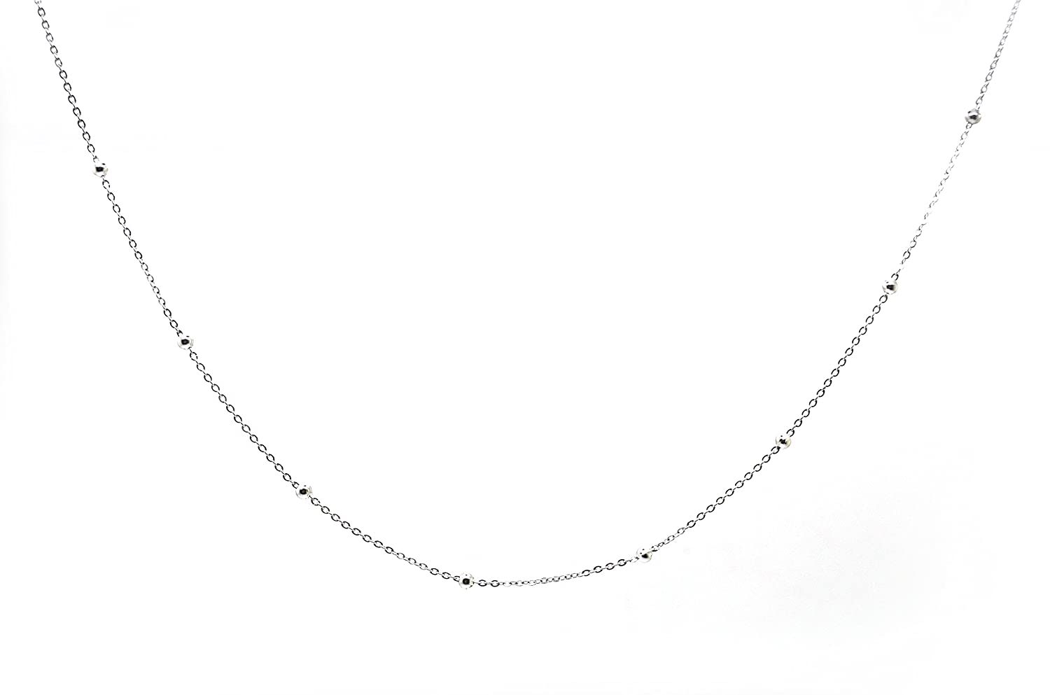 18K White Gold - 18 Inches Millardo Jewelry Basic Collections 1.2mm Wide 18K White Gold Ultra Thin Cable Chain With Beads Chain Necklace