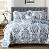 Oversized King Size Bedding 126x120 3-Piece Pure Cotton Quilt Set, Blue Flower Print Bedspread Set