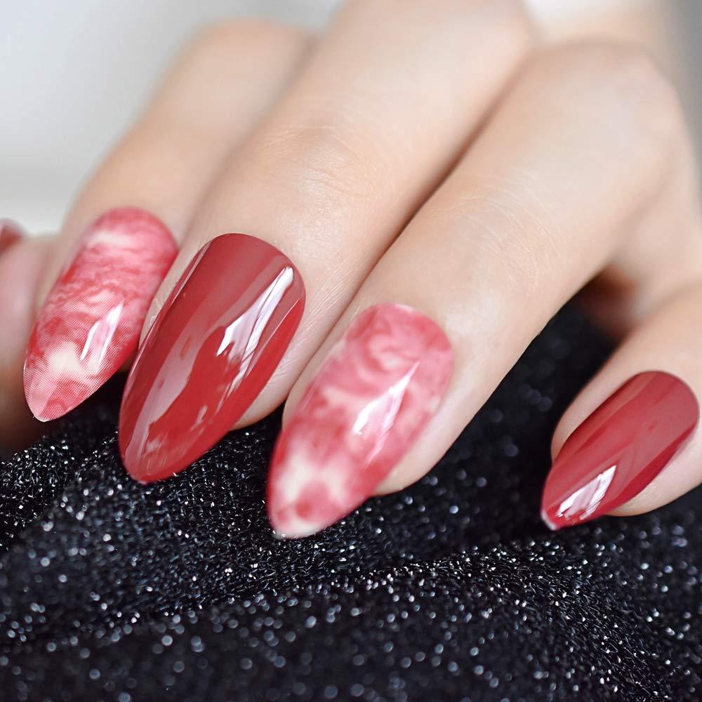 EchiQ Almond Stiletto - Puntas de dedo de mármol rojo ...