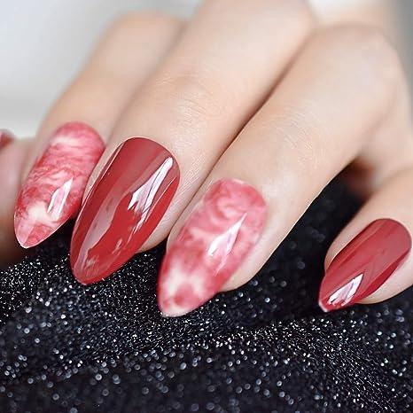 EchiQ Almond Stiletto - Puntas de dedo de mármol rojo burdeos para uñas postizas, acrílico