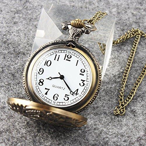 - Junson Retro Train Pattern Quartz Pocket Watch Chain For Man Women