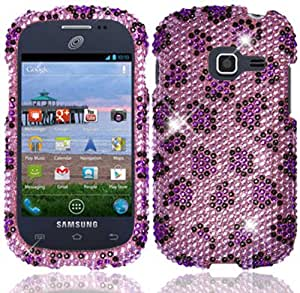 For Samsung Galaxy Centura S738C Full Diamond Bling Cover Case Purple Leopard