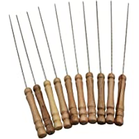K Kudos Enterprise Premium Quality Multipurpose Barbecue Skewers for BBQ Tandoor and Grill, Stainless Steel Stick with Wooden Handle