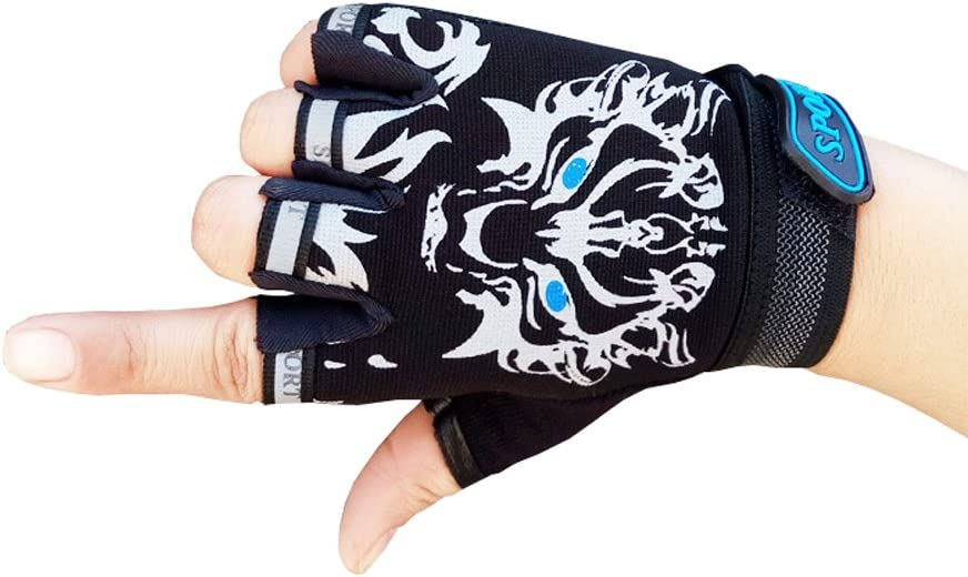MARZE Cycling Gloves for Kids Children Half Finger Non-Slip Adjustable Sports Gloves Bike Gloves