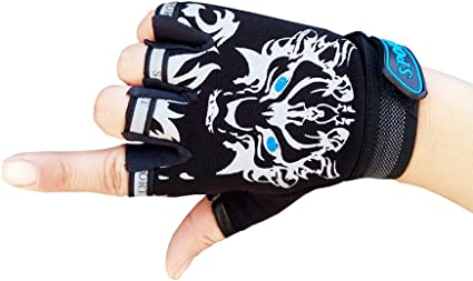 Kids Cycling Gloves Half Finger Driving Bicycle Boys Girls Anti-Slip Protective