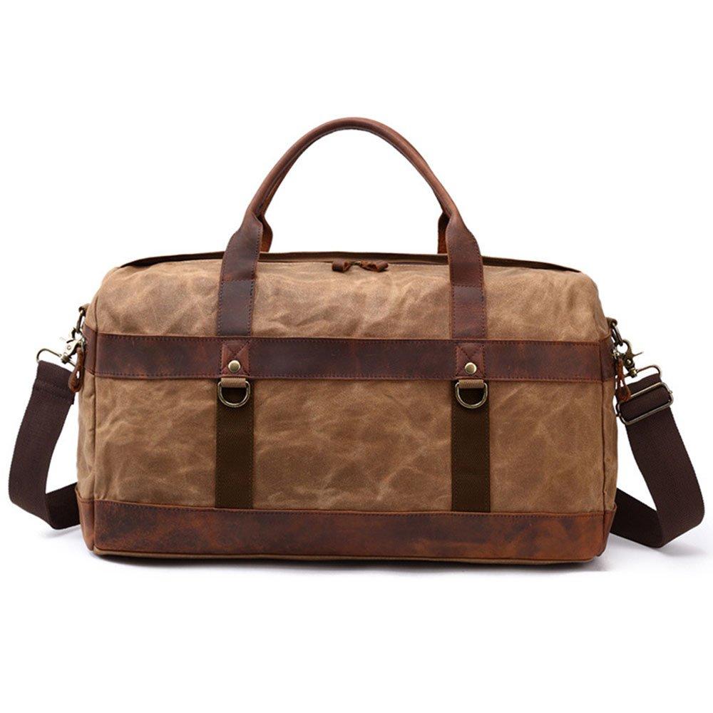 旅行バッグ スタイリッシュなシンプルさキャンバスメンズショルダーバッグ手荷物手荷物ウィークエンドバッグ大容量パッケージトラベルダッフル スポーツバッグ トラベルバッグ (色 : 褐色)  褐色 B07P5Z3F2D