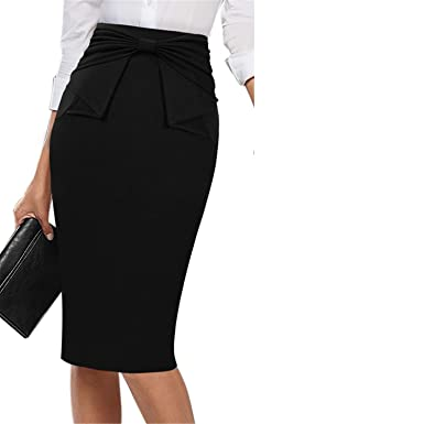 c751f783975349 Chiced Womens Elegant Pleated Bow High Waist Slim Wear to Work Office  Business Party Cocktail Fitted