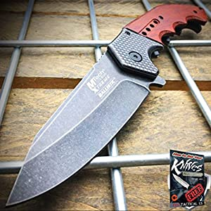 9″ SPRING ASSISTED OPEN Tactical Blade Folding POCKET KNIFE Wood Steampunk NEW + free eBook by ProTactical'US
