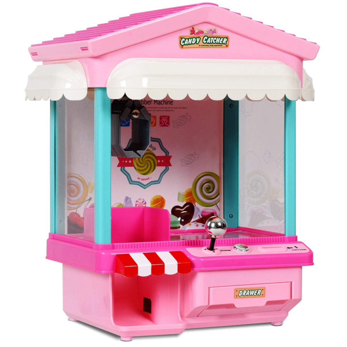 Alek...Shop Carnival Game Kids Home Arcade Electronic Claw Grabber Crane Machine Features Exciting Toy w/ Lights & Music & Coins, Pink