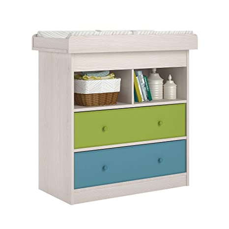 Amazon.com : Ameriwood Home Applegate Changing Table With 2 Fabric Bins,  Natural : Baby