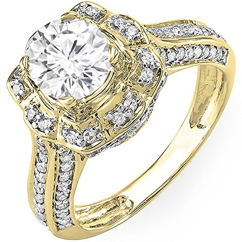 Dazzlingrock Collection 14K Round Moissanite & White Diamond Cluster Ladies Engagement Bridal Ring, Yellow Gold, Size 7 ()