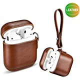 Amoysanli Leather AirPods Case, Shockproof Case with Strap, Protective Portable Cover Skins with Lanyard for Apple AirPods 1&2 (Front LED Not Visible) (Support Wireless Charging) (Retro Brown)